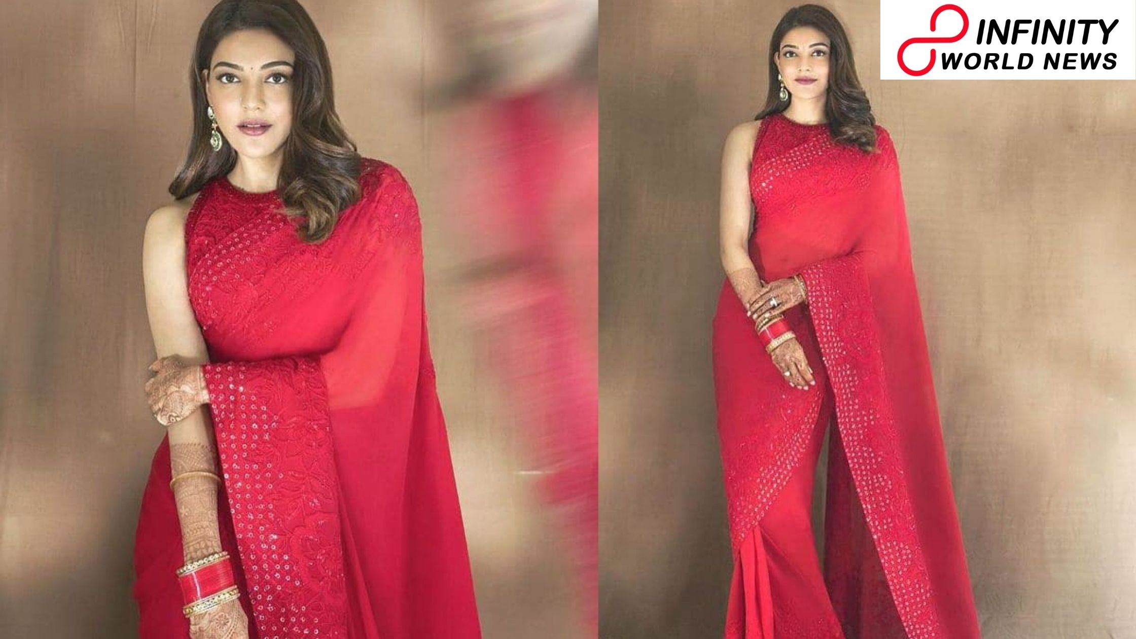 Kajal Aggarwal Dresses The Most Delicate Red Saree by Manish Malhotra
