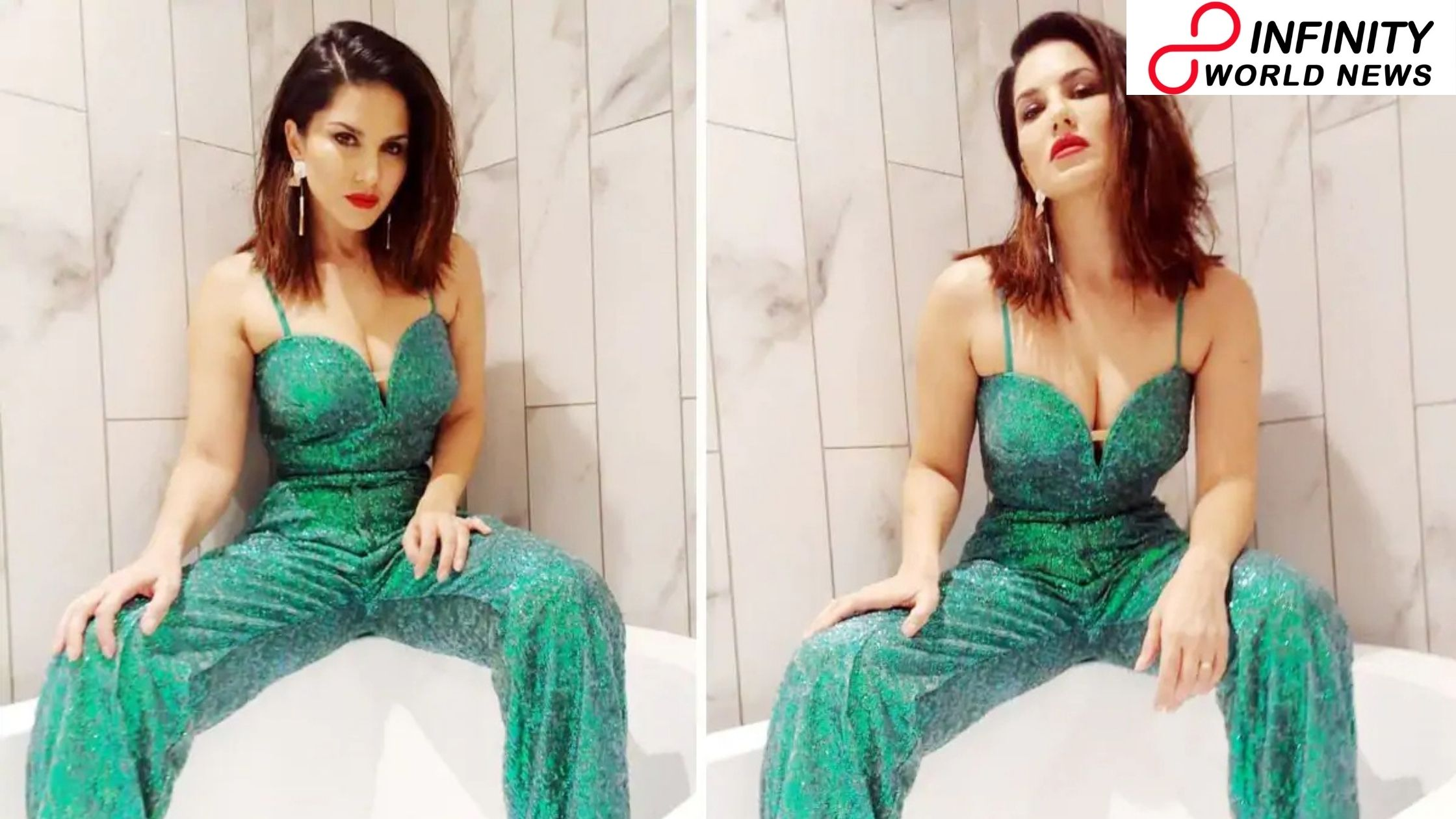 Sunny Leone Poses into a Bathtub Wearing a Sparkly Jumpsuit Including a Plunging Neckline – See Viral Pics