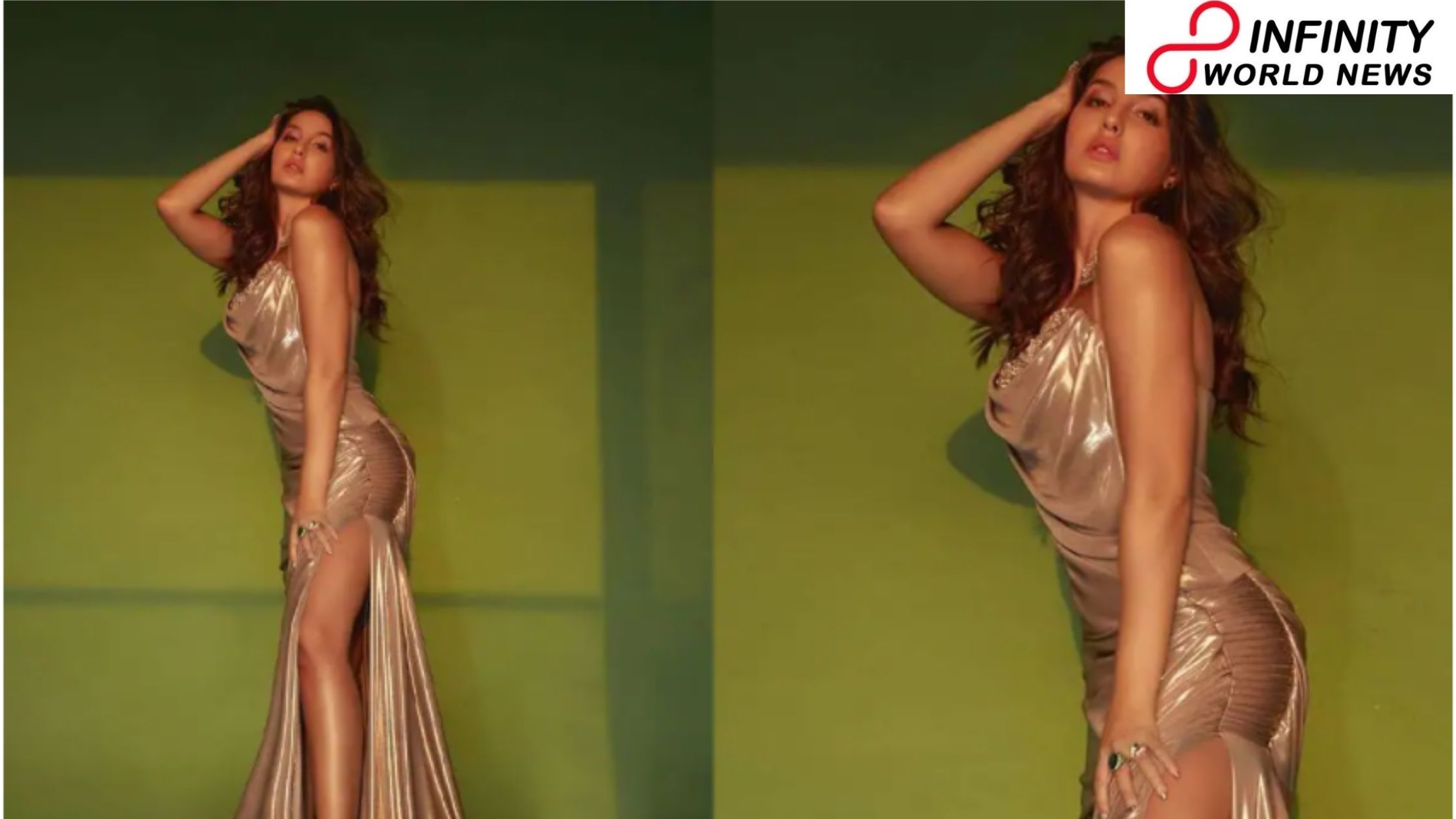 Nora Fatehi Within Metallic Thigh-High Slit Gown Fires The Internet
