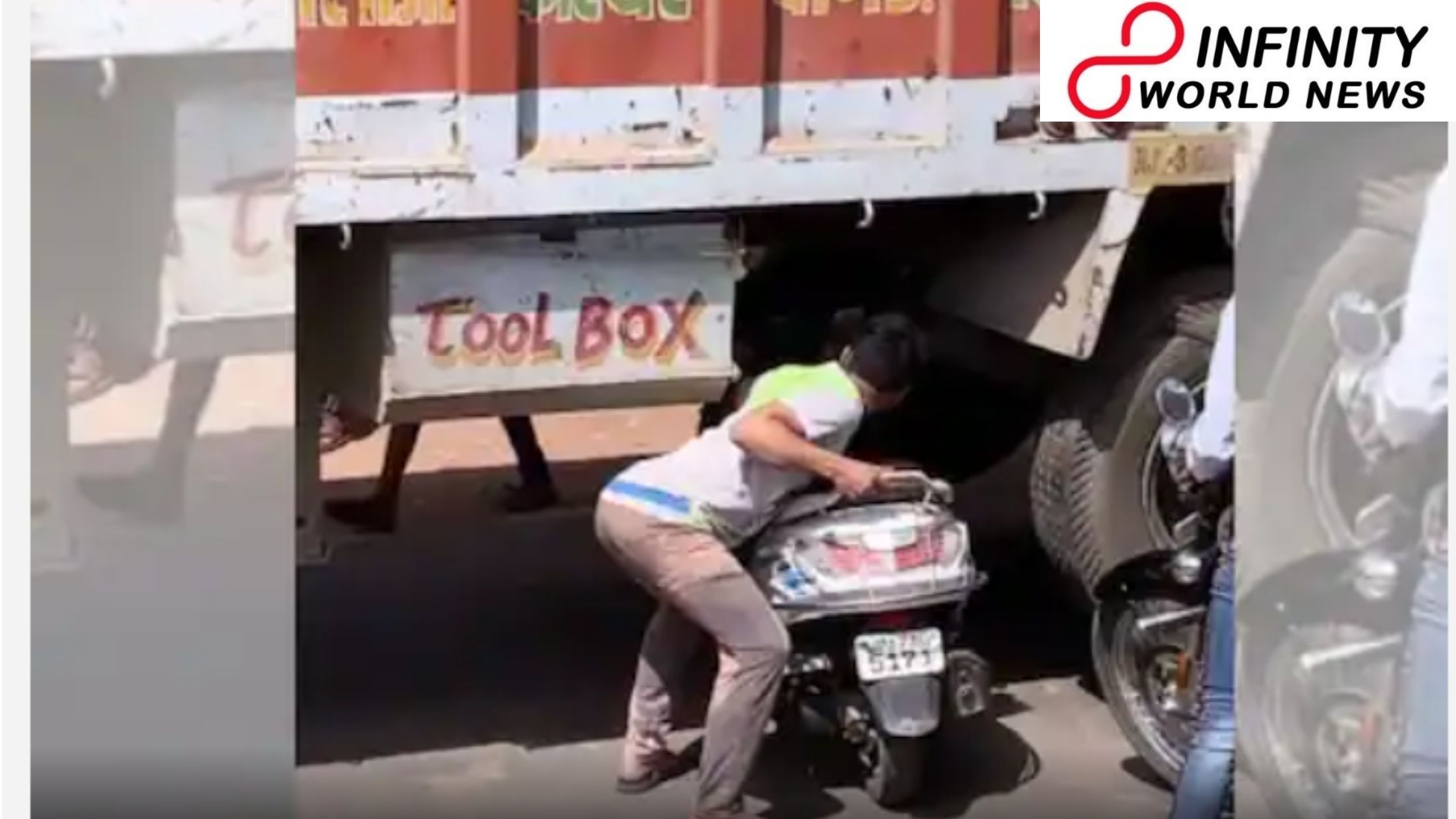 Watch: Video of Man Carrying His Scooter Beneath a Truck to Escape Traffic Goes Viral